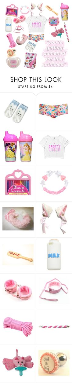"""Play but don't break my rules princess/prince"" by rainythedarklord ❤ liked on Polyvore featuring Topshop, Disney, Melissa & Doug, Hello Kitty, Universal, WubbaNub and Circo"