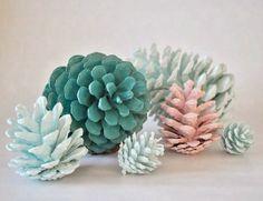 Decor: Hand painted pine cones.