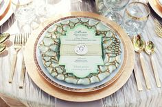 Mint & gold place setting w/ stationery / Yvette Hart Events shoot Table Place Settings, Wedding Place Settings, Rustic Chic Decor, Rustic Farmhouse Decor, Trendy Wedding, Rustic Wedding, Wedding Decor, Wedding Ideas, Blue Wedding