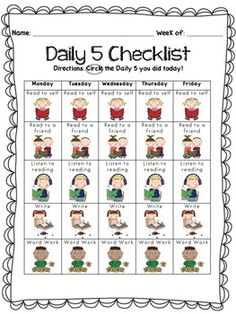 Enjoy this Daily 5 Checklist. Perfect for making students accountable for their own work and choices throughout the week. Easy visual representations for early learners :) THREE different variations to choose from! Daily 5 Reading, 3rd Grade Reading, Student Reading, Guided Reading, Daily 5 Checklist, Daily 5 Schedule, Daily 5 Kindergarten, Daily 5 Math, Reading Stations