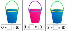 Lovely set of bucket pictures to practise number bonds to 10. Just add small shells!