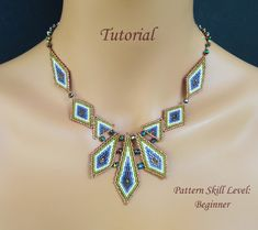 EXCALIBUR beaded necklace beading tutorial by PeyoteBeadArt Beaded Necklace Patterns, Beaded Bracelets Tutorial, Seed Bead Patterns, Beading Patterns, Seed Bead Tutorials, Beading Tutorials, Seed Bead Jewelry, Bead Jewellery, Bead Weaving