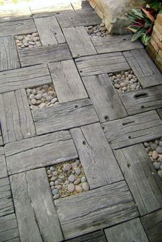 Wood and pebbles as map tiles
