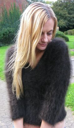 "Furry Soft Brown 80 Angora Sweater Jumper S 32"" Gorgeous £24 99 | eBay"