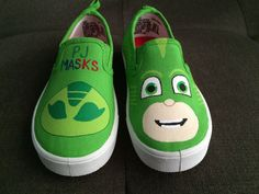 Calling All PJ MASKS Fans!!! These hand painted shoes are painted with acrylic paint and sprayed with acrylic protection spray. Perfect for your little PJ MASKS Fan!! Great for birthday parties, gifts, themed events or just your everyday ware!!  SHOE SIZE: Please specify what size you need in NOTES TO SELLER section at checkout - NO 1/2 sizes!! SIZES AVAILABLE - Toddler & Kids SHOE TYPES - Slip on shoes I do my best to make sure each item is created the same as pictured. Each item is…