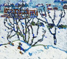 David Brown Milne,Bare Trees in Snow, oil on canvas 46 x 51 cm Canadian Painters, Canadian Artists, Painting Snow, Painting & Drawing, David Milne, Winnipeg Art Gallery, Bare Tree, Winter Art, Paintings I Love