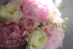 The Flower Magician: Bridal Bouquet of Pink Peonies, Patience Roses & Lily of the Valley Peony Bouquet Wedding, Peonies Bouquet, Bride Bouquets, Wedding Flowers, Lily Of The Valley Bouquet, David Austin Rosen, Parisian Wedding, Peony Rose, Flower Names