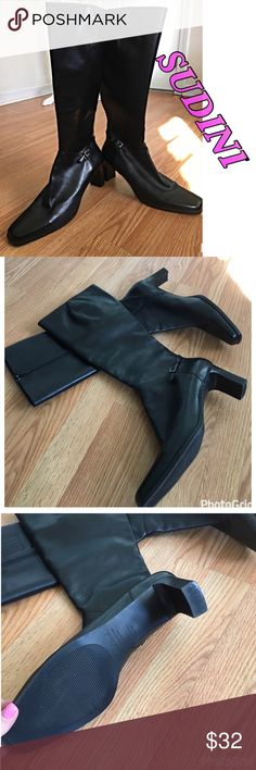 SUDINI BLACK BOOTS Sudini black boots. Buckle detailing. Approximately 3 inch heel. In good condition. sudini Shoes Heeled Boots