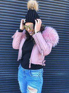 winter coats, winter coats for women, winter coats for girls, pink fur coats, pink leather jacket, pink fur leather jacket, winter coats 2017, how to style your winter coat, winter coat outfit, leather jacket outfits, sweater hat, black sweater hat, pom sweater hat, winter accessories for women, fashionable coats, chicago blogger, fashion blogger, warm winter coats, winter outfits, adidas shoes, adidas shoes outfits, ripped jeans, distressed jean outfits