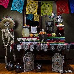 Eat, drink & be bony! Sanctify your mantel or table into a Day of the Dead altar complete with sugar skulls, bright colors & yummy drinks!