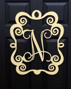 """Unfinished Wood Initial with scroll frame 20"""" DIY Door Hanger"""