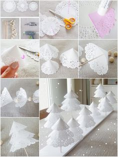 DIY Paper Doilies Christmas Tree Are you still looking for some ideas for Christmas decorations? These Paper Doilies Christmas Tree are pretty. Creative Christmas Trees, Diy Christmas Decorations Easy, Easy Christmas Crafts, Diy Christmas Tree, Homemade Christmas, Simple Christmas, White Christmas, Xmas Trees, Beautiful Christmas