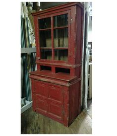 Antique Primitive Early Large Old Stepback Step Back Cupboard Cabinet!! Red  AppleOld ...