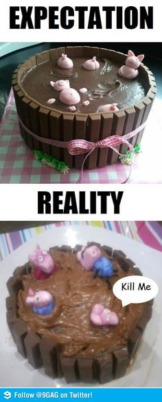 Here's an awesome list of hilarious baking fails that just go to show sometimes reality just doesn't quite live up to our expectations. Actually, this happens quite a lot of the time when you're making Funny Fails, Funny Memes, Jokes, Pin Fails, Baking Fails, Fail Nails, Food Fails, Expectation Reality, Pinterest Fails