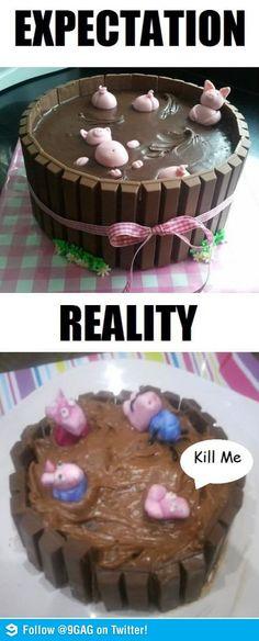 ... Vs Reality, Expectation Vs Reality, Pinterest Fail, Cool Cake