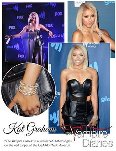 "Kat Graham of ""The Vampire Diaries"" in #VAHAN.  #KatGraham #VahanStyle #Gold #Silver #Diamonds #throwback #GLAAD #VampireDiaries #VahanCelebs"
