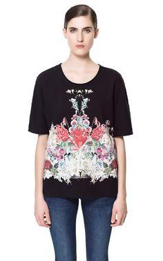T-SHIRT MIT GESPIEGELTEN BLUMEN - T-shirts - Damen - ZARA Deutschland