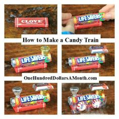Christmas Tip Of The Day! How To Make A Candy Train! - Start with a package of gum. - Hot glue 1 roll of Lifesavers to the pack of gum letting the Lifesavers hang over 1 end of the gum. - Hot glue 1 foiled Rolo. - Hot glue 1 Hershey's miniature candy to the top of the Rolo. - Hot glue 1 upside down foiled Hershey's Kiss. - hot glue 4 wrapped peppermint discs. *Great idea for kids to do under the supervision of an adult.