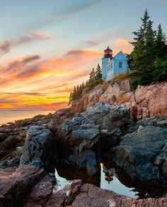 Built in 1858, Maine's Bass Harbor Head Light perches atop the rocky southern shore of Mount Desert Island; today it's part of Acadia National Park. Although the tower and house are not open to the public, trails on either side offer spectacular views.