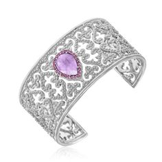 Sterling Silver Byzantine Style Cuff with Amethyst and Pink Sapphires