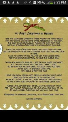 From those in heaven, who we miss so much. My First Christmas In Heaven Christmas In Heaven Poem, Christmas Poems, First Christmas, Christmas Stuff, Christmas Crafts, Christmas Eve, Christmas Program, Funny Christmas, Christmas Printables