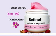 Retinol / Rose + Argan oil - VITAMIN A - Face Moisturizer / Anti Aging/Wrinkle cream / Natural Handmade Skin Care #VeganRetinol #AntiAging #Rose #VitaminA #Retinol #SelfCare #RetinolFaceCream #WrinkleCream #beauty #oilyskincare #AntiAgingMask Argan Oil Natural, Natural Aloe Vera, Organic Argan Oil, Natural Skin, Natural Beauty, Vitamin A, Natural Vitamin E, Organic Black Seed Oil, Knives