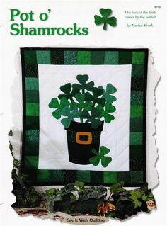 Pot o' Shamrocks  Wall  Quilt Pattern Leaflet w/ Flexible Plastic Templates #CreativeScrapQuiltPatterns