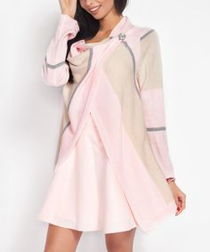 Love this Fobya Baby Pink Color Block Cardigan by Fobya on #zulily! #zulilyfinds
