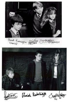 daniel radcliffe, rupert grint, and emma watson's signatures. dan's is just a scribble basically aha.
