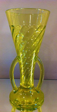 "Vaseline depression glass (Uranium glass). Imperial Glass ""Spiral Optic"" vase"
