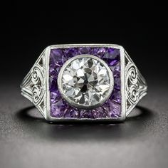 1.35 Carat Diamond and Amethyst Art Deco Ring- Circa 1925