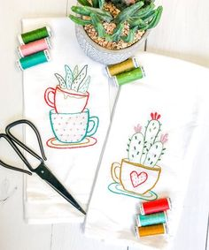 Loving this Cactus Tea Cups Tea Towel Embroidery Kit on Towel Embroidery, Embroidery Patterns, Sewing Patterns, Embroidery Hoops, One Color, Tea Towels, Fun Crafts, Needlework, Cactus