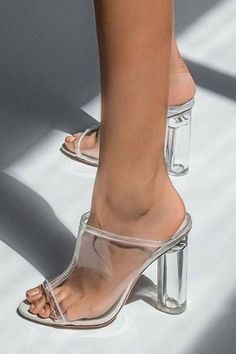 Details about  /2020 Spring Women Clear PVC Glass Heeled Shoes Rivets Point Toe Sandals Slippers