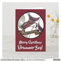 Personalize this drumming card with the name of your favorite Drummer Boy - featuring a beautiful drum kit and drumsticks. #drummerchristmas #snaredrum #drumsticks #drumjunkie