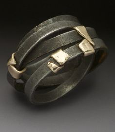 Peg Fetter: Street Cleaner Ring in steel and 14k yellow gold. Ring is 14mm wide. Size 14 (may be custom ordered in your size, allow 3-4 weeks) Peg Fetter