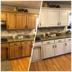 8 Rustic Kitchen Cabinet Makeover Pictures - Gone are the days when individuals are happy with outside cooking tools like having barbeque grills, which Tall Kitchen Cabinets, Painting Kitchen Cabinets, Kitchen Redo, Kitchen Styling, Kitchen Design, Cream Colored Kitchen Cabinets, Cream Cupboards, Oak Kitchen Remodel, Kitchen Ideas