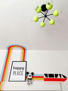 Gender neutral nursery with a modern disney mural and a neon green and black chandelier. Baby Boy Nursery Decor, Nursery Design, Nursery Neutral, Baby Boy Nurseries, Disney Mural, Neon Home Decor, Elegant Chandeliers, Modern Lighting Design, Modern Disney