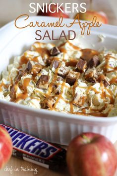 Snickers Carmel Apple Salad -- Ingredients: 6 regular size Snickers Candy Bars, 6 apples (Red Delicious or Granny Smith would be great), 1 (5 oz.) package Vanilla Instant Pudding dry do not prepare, 1/2 cup milk, 1 (12 oz.) tub cool whip, 1/2 cup caramel ice cream topping