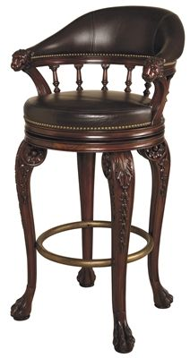 Swivel Barstool, Carved Lion's Head. Our Price: $1,230.00