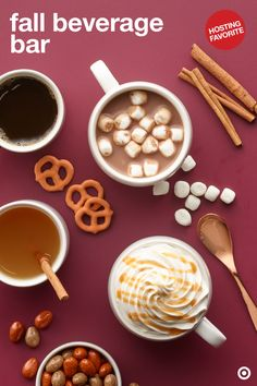 Build the perfect fall beverage bar for your next cozy get-together. There are so many yummy fall drinks to pick from like Archer Farms Pumpkin Spice Cocoa, Apple Cider and Pumpkin Spice Coffee. Add toppings so everyone can customize their own cup. Cheers!