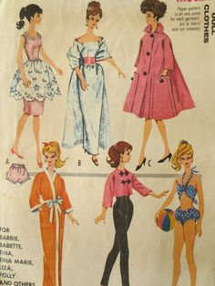 barbie+sewing+patterns | Vintage McCall's 6260 Sewing Pattern, Barbie Clothes Pattern, 1960s ...