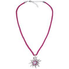 Pinke Halskette mit Edelweißanhänger