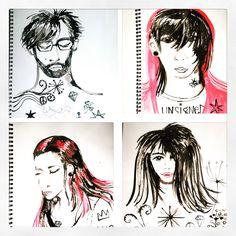 Indie ink portraits by Lizzie Reakes