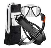 Get ready for underwater exploration with this 5-piece snorkeling set from U.S. Divers! The Belize mask features a durable, tempered glass lens, a soft facial skirt and a Pro-Glide buckle for easy strap adjustments. The Bali snorkel has a dry-top with purge valve to keep water out. The Starboard fins are adjustable, so you'll get a perfect fit every time. All of these rugged pieces can be carried and stored in the included travel bag with a mesh bottom and mask pocket.