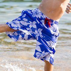 Boarder Shorts - Mid Blue Hawaiian