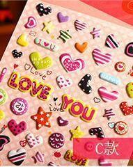 Cute Love Heart Color Stereo Bubble Sticker Phone Sticker / Children Sticker Award Candy Bubble Toy