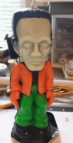 Vintage Halloween Gurley Candle ~ Frankenstein * Glow in The Dark Candle
