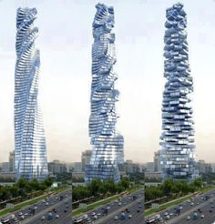Da vinci Tower to be known as the Dynamic Architecture building is to be constructed in Dubai. The 68-story tower will feature floors that can be individually rotated via voice commands.