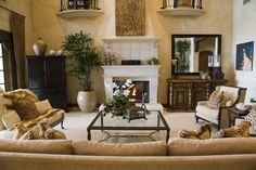 Large Mediterranean style living room design