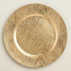 One of my favorite discoveries at WorldMarket.com: Gold Woodgrain Lacquer Chargers, Set of 4